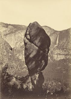 museumuesum:  CARLETON E. WATKINS Yosemite Valley (Agassiz Rock and Yosemite Falls), c. 1883 Albumen print from mammoth glass plate negative, 21 x 15in. (54 x 39.4cm.)