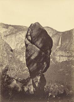 museumuesum:  CARLETON E. WATKINS Yosemite Valley (Agassiz Rock and Yosemite Falls), c. 1883 Albumen print from mammoth glass plate negative, 21 x 15in. (54 x 39.4cm.)