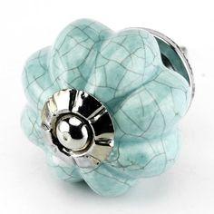 Blue Crackle Ceramic Knob, Kitchen Drawer Pulls, Handles - Melon Style Knobs with Chrome Hardware Set/4