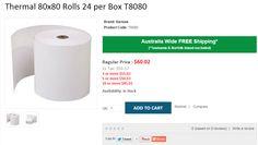 80 x 80 Thermal Till Roll Epos Receipt Paper 2 Box 40 Rolls 80 x 80 x 12.7mm Core 80x80 Fit Ellix 40