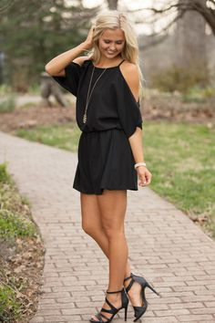 Back By Midnight Romper Black - The Pink Lily