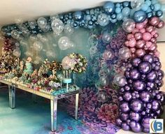 A party dream ? Via Scenery Balloons Little Mermaid by Scenery Balloons and with Adri Farall … - New Deko Sites Balloon Garland, Balloon Decorations, Birthday Party Decorations, Party Themes, Balloons, Birthday Parties, Party Ideas, Deco Ballon, Idee Baby Shower