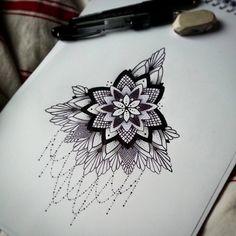 Mandala tattoo design, underboob tattoo - by Alexine Jonval at Black Onyx Tattoo Studio (London).