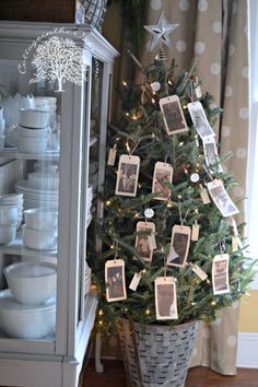 Tree with hang tag photos of the past year's memories