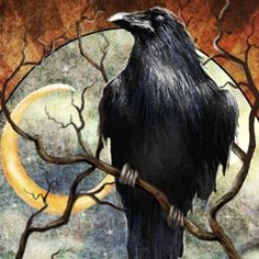 PROTECTION  Raven and the Crescent Moon  by steelgoddess on Etsy