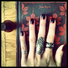 Jane Eyre Inspired. OPI reverse French Mani; Nail Art. Goth; Dark Boho, Rebel Gypsy. Sterling Silver. Hands. Follow @stephaniestayfast via Instagram.