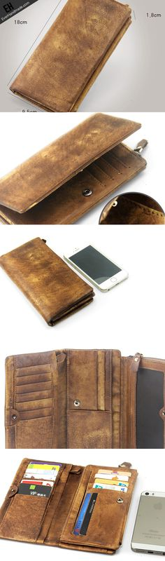 Handmade men long leather wallet men trifold vintage gray brown long wallet for him