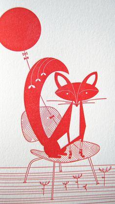 Image of Fox  balloon Letterpress Notecards
