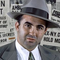 Mickey Cohen, the mob's man in Hollywood. Want a horse head placed in a movie mogul's bed while he sleeps? He's your guy. Frank Nitti, Mickey Cohen, La Confidential, Mafia Gangster, White Heat, Al Capone, Celebrity Portraits, Today Show, Native American Indians