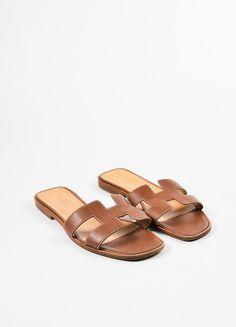 """Brown Hermes Leather """"Oran"""" Logo Slide Sandals"""