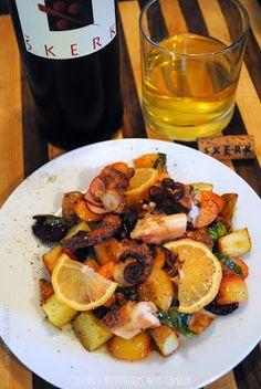 Octopus and orange wine