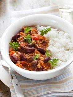 poivre, boeuf haché, haricot rouge, concentré de tomate, oignon, beurre, cumin en poudre, ail, chili, persil, sel, bouillon de boeuf