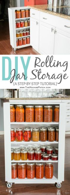 DiY Rolling Storage | Diy pull-out kitchen shelves | Diy Jar storage shelves with casters | Step-by-step cabinetry tutorial | Cabinetry and Woodworking | Simple woodworking | Diy kitchen organization | Space Hacker | Small space organization | TheNavagePatch.com #DiyWoodworkingSimple Diy Storage Shelves, Diy Hanging Shelves, Diy Kitchen Storage, Diy Wall Shelves, Floating Shelves Diy, Jar Storage, Kitchen Organization, Storage Ideas, Bathroom Storage