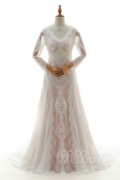 Sheath-Column V-Neck Natural Court Train Chiffon and Lace Long Sleeve Zipper Wedding Dress with Appliques LD4223