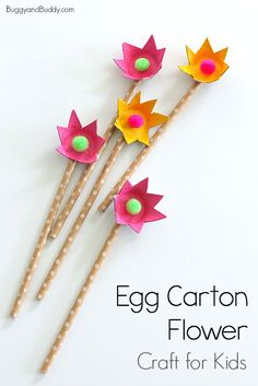 How to Make Egg Carton Flowers: Easy flower craft for kids and perfect for spring or Mother's Day! ~ BuggyandBuddy.com #eggcartoncraft #flowercraft #springcraft