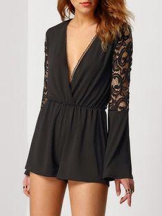 Black Lace Playsuit Deep V Neck Romper - $34