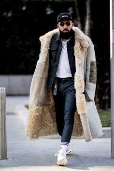 On the street at Milan's fall 2017 men's fashion week. Photo: Imaxtree.