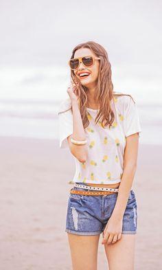 Blusa Cropped Abacaxi VBL 109 / Shorts Jeans KT-304 // Campanha Erre Erre Verão 2015 #mundoErreErre @erreerreoficial