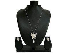 DIAMANTE SILVER BUTTERFLY NECKLACE SET WITH STUD EARRINGS, £5.99