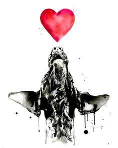 GSP Love Dog Speaks Love Print of my Original by WeekdayBest