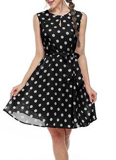 3dfc3a3d6b41 Sommerkleid schwarz weiß Damen Elegant Strandkleid Chiffonkleid A-Linie  Bedrucktes Kleid mit Punkten Gürtel Aff