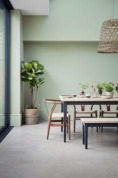 Sage Living Room, Green Dining Room, Green Rooms, Dining Room Walls, Dining Chairs, Sage Green Paint, Sage Green Walls, Blue Walls, Modern Flooring