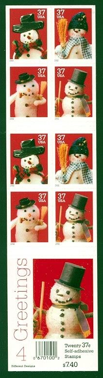 2002_10_28 $.37 each The contemporary Christmas stamps depict four different snowman designs. The stamps were designed by Derry Noyes and issued on October 28, 2002. The unfolded booklet pane of 20 self-adhesive stamps offered here includes five each of the four designs.