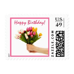 Here's a Bouquet Happy Birthday Postage Stamp