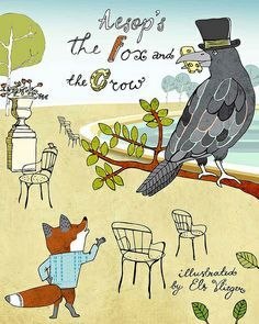 Els Vlieger The Fox and the Crow Mats A children's book cover assignment
