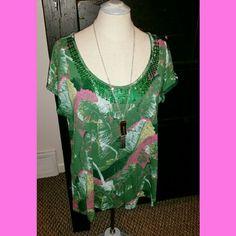 Calvin Klein Top only- green and pink sequin tshirt size medium Calvin Klein Tops Tees - Short Sleeve