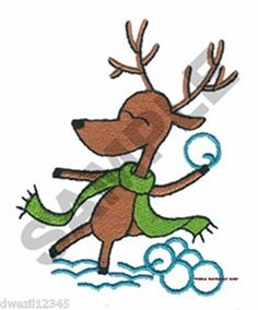 CHRISTMAS REINDEER SNOWBALL FIGHT - ONE EMBROIDERED HAND TOWEL by Susan