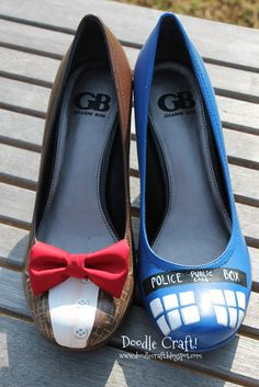 Doodle Craft...: Doctor Who Painted TARDIS Heels! | Oh my gosh, I am SO making these. Who wants to write the Police Call Box part and do the fiddly parts for me?