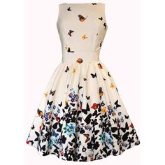 Beautiful White Butterfly Tea Dress ❤ liked on Polyvore featuring dresses, white tea party dress, butterfly print dresses, moth dress, white tea-length dresses and white butterfly dress