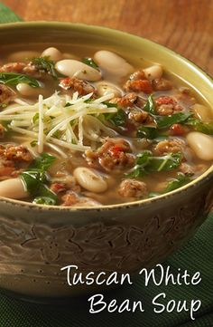 Tuscan White Bean Soup Recipe - Looking for a delicious soup recipe? Then look no further…sausage, onion, white wine, beans and kale are combined with a savory Tuscan flavor infused broth and simmered to perfection. Plus, 45 minutes is all it takes to hav Tuscan Bean Soup, White Bean Soup, White Bean Sausage Soup, Italian Bean Soup, Bean Soup Recipes, Chicken Recipes, Hamburger Recipes, Pasta Recipes, Cooking Recipes