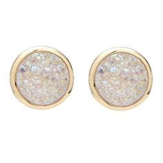 18k gold plated tiny round shaped stud earrings with druzy stones . Add just the right amount of sparkle to your ensemble with these charming gold stud earrings
