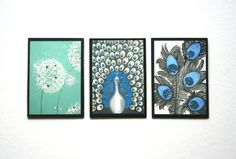 TRIO original art prints - glitter & Swarovski - dandelion, peacock decor, peacock feather, mixed media abstract art aceo by Lydia Ge