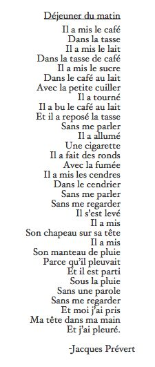 Poem giving daily morning activities Dejeuner du Matin - Jacques Prevert French Verbs, French Grammar, French Poems, French Phrases, French Quotes, French Expressions, French Teaching Resources, Teaching French, French Language Learning