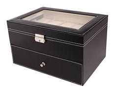 Amzdeal® Large Leather 20 Grids Men Women Watch Display Box Case ,Watch Storage Box , Jewellery Storage Box ,Gloss Top Box Case- Black - http://www.jewelryfashionlife.com/amzdeal-large-leather-20-grids-men-women-watch-display-box-case-watch-storage-box-jewellery-storage-box-gloss-top-box-case-black/