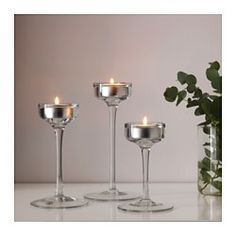 IKEA - BLOMSTER, Candle holder, set of 3, Can be used both with candles in metal cups and with tealights.Mouth blown; each candle holder is…