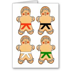 Shop Gingerbread Martial Artists Holiday Greeting Cards created by MartialArtsParty. Taekwondo Kids, Black Belt Taekwondo, Martial Artists, Holiday Greeting Cards, Event Ideas, Christmas Stuff, Karate, Christmas Cookies, Crafts To Make