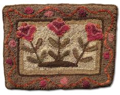 Three Flowers Floral Rugs, Eagle Nest, Penny Rugs, Quilted Pillow, Punch Needle, Rug Hooking, Eagles, Sheep, Primitive