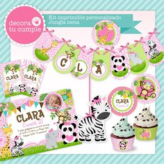 Kit imprimible personalizado animalitos selva niña