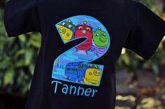 Personalized Chuggington Train Kids Birthday Shirt / Ready to Ship in 2 Weeks… Chuggington Birthday, Trains Birthday Party, Train Party, Twin Birthday, 3rd Birthday Parties, Birthday Fun, Birthday Shirts, Birthday Ideas, Birthday Numbers