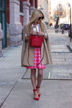 Atlantic-Pacific - Skirt: J.Crew. Shoes: Zara. Top: Hanro c/o. Bag: Celine. Sunglasses: Karen Walker 'Super Duper'. Lips: MAC 'Ruby Woo'. Cape: MiraMira . Jewelry: David Yurman, Michele Watch, Stella and Dot, Pomellato.