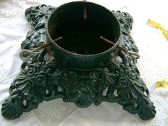 vintage cast iron christmas tree stand square green paint heavy safe item ebay christmas tree
