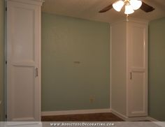 DIY cabinet style built-in closets - cost of $168 each.  The bed would be placed between the two closets