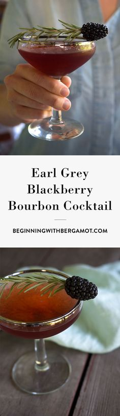 This cocktail is rich, warm and fruity. It's the perfect tea cocktail to drink as summer turns into fall. Just combine Earl Grey tea, bourbon whiskey, blackberry, simple syrup and garnish with rosemary. Click to get the full recipe. // Earl Grey Blackberry Bourbon Cocktail // Beginning with Bergam
