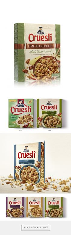 New design for Quaker Cruesli by PROUDdesign. Accoording to the site, the pack has been introduced in The Netherlands and is soon to be rolled out in the rest of Europe. Source: Daily Package Design Inspiration. Pin curated by #SFields99 #packaging #design #inspiration #ideas #innovation#redesign #rebranding #creative #product #range #color #typography #photography #quaker #oats #cereal #food #fmcg #consumer