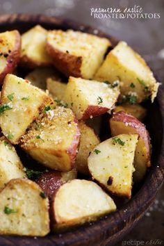 Garlic roasted potatoes (add a little extra parm with extra salt and pepper when it comes out of the oven.)