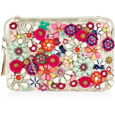 Accessorize Mandy Multi Floral Pom Across Body Bag ($59) ❤ liked on Polyvore featuring bags, handbags, shoulder bags, metallic shoulder bag, chain shoulder bag, floral shoulder bag, metallic handbags and floral crossbody purse